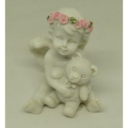 N°12  ANGE ASSIS COURONNE FLEURS ROSES TIENT NOUNOURS - FIGURINE